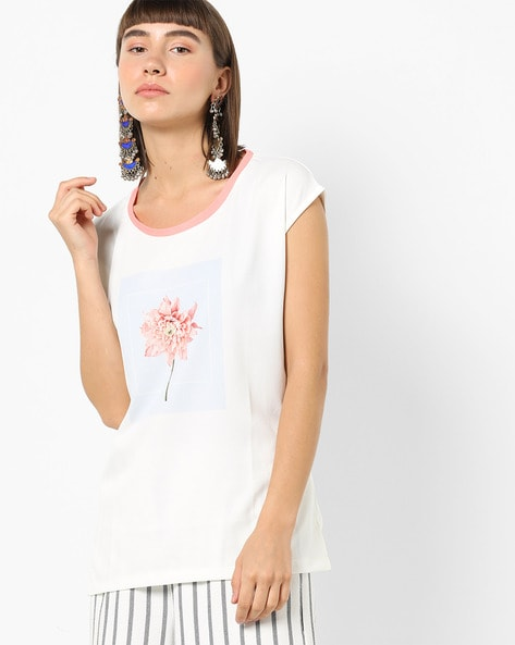 Printed Top With Cap Sleeves By BOSSINI ( Blue )