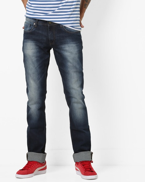 Mid-Rise Slim Fit Jeans By BASICS ( Navy )