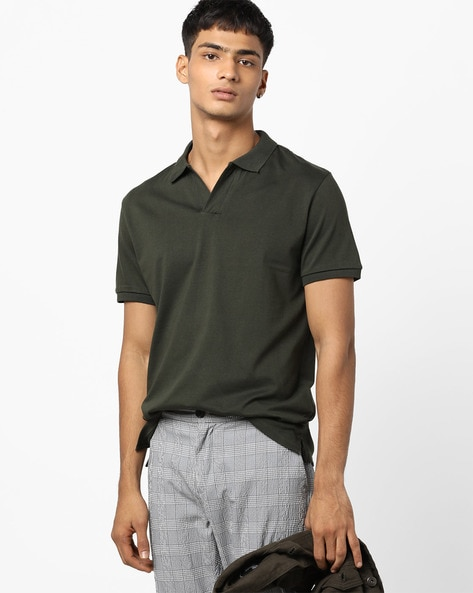 Polo T-shirt With Vented Hems By AJIO ( Olive )