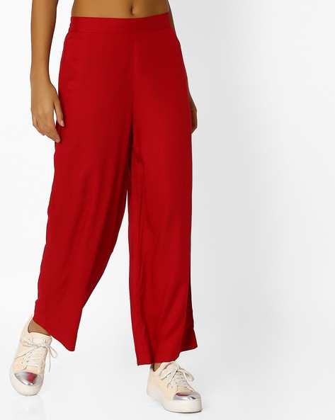 Straight Palazzo Pants With Elasticated Waistband By AURELIA ( Red )