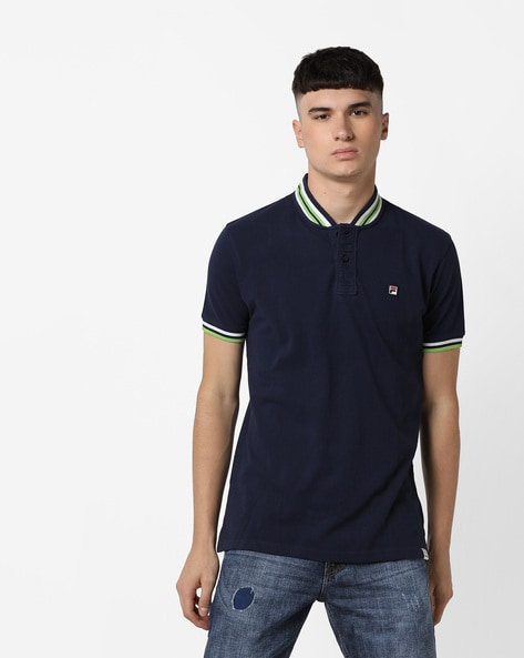 Spring Polo T-shirt With Contrast Taping By FILA ( Blue )