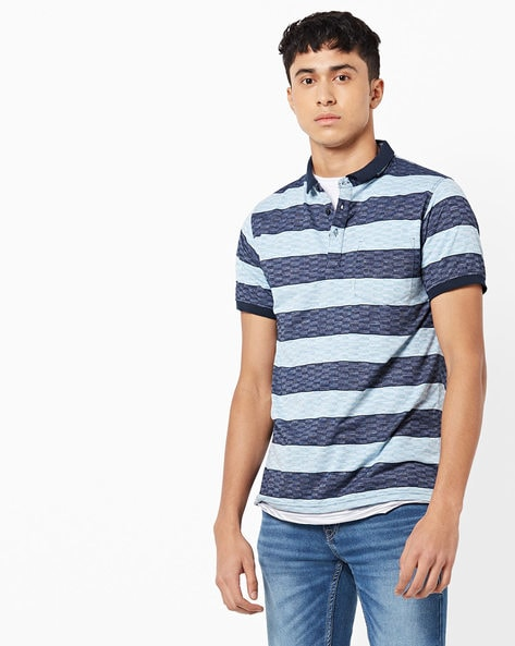 Striped Polo-Neck T-shirt With Contrast Collar By Fort Collins ( Green )