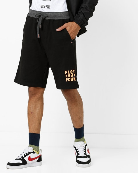 14f94a57f5d3d FCUK Black Bermudas Mid-Rise French Terry Shorts with Typography