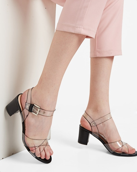 32a1d088bfa Buy White & Black Heeled Sandals for Women by AJIO Online | Ajio.com