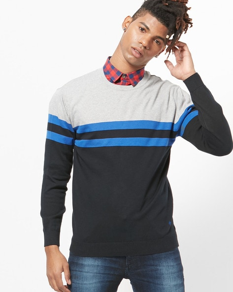 Colourblock Crew-Neck Pullover By JOHN PLAYERS ( Blue )