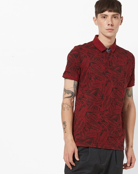Tropical Print Polo T-shirt By NETPLAY ( Maroonburg )