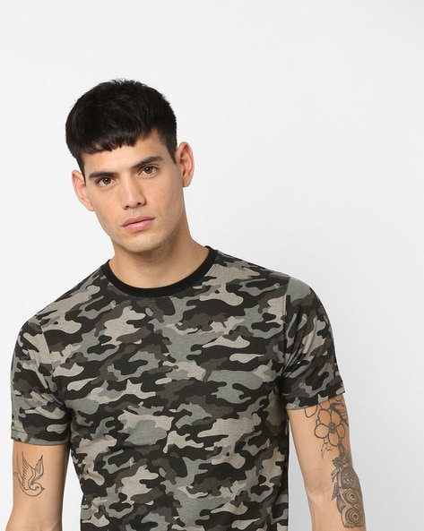 Camouflage Print Crew-Neck T-shirt By Garcon ( Grey )