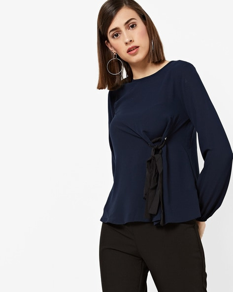 Top With Front Tie-Up By Oxolloxo ( Navy )