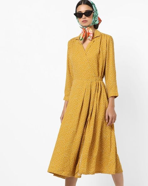 9e5d1ff61 PROJECT EVE WESTERN WEAR Mustard A-line Ditsy Print A-line Dress with Lapel