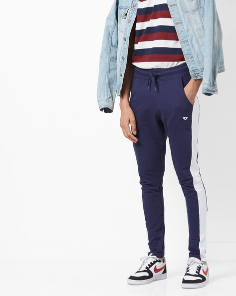 Mid-Rise Colourblock Track Pants By Garcon ( Navy )