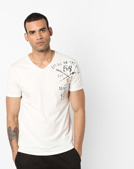 Heathered V-neck T-shirt With Placement Print By SPYKAR ( Offwhite )