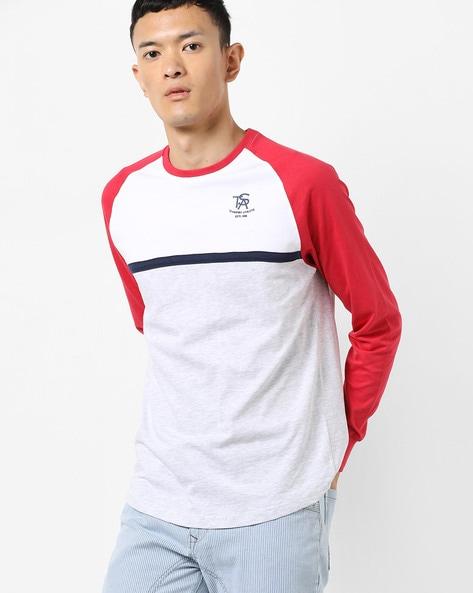 Colourblock Crew-Neck T-shirt With Raglan Sleeves By Teamspirit ( Ltgrey )