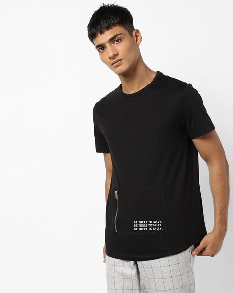 Crew-Neck T-shirt With Zipped Pocket By AJIO ( Black )